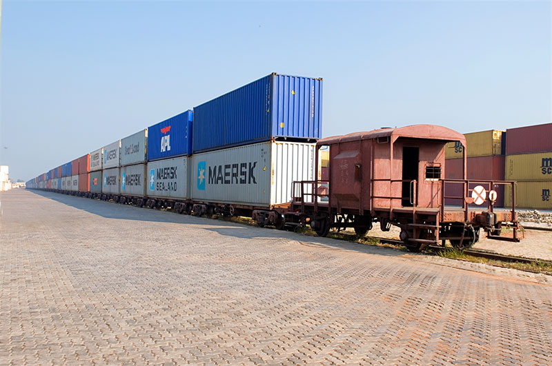 Containers on a train in India