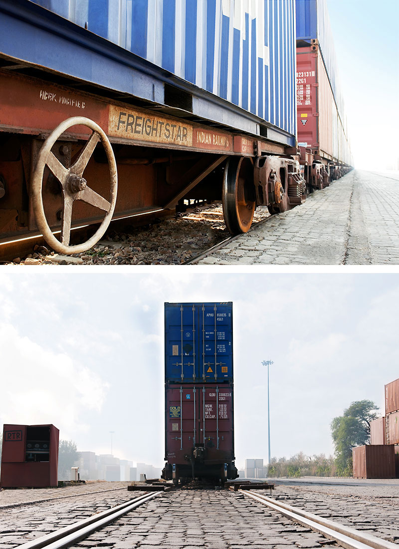 Containers on train
