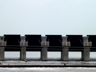 Completed barrage at SMHPCL, close up of spillway gates (27 in total)